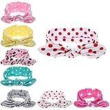 Baby Girls Headband Bunny Ears Dot Girls'Head Wrap Turban Newborn Headband 6 Pcs