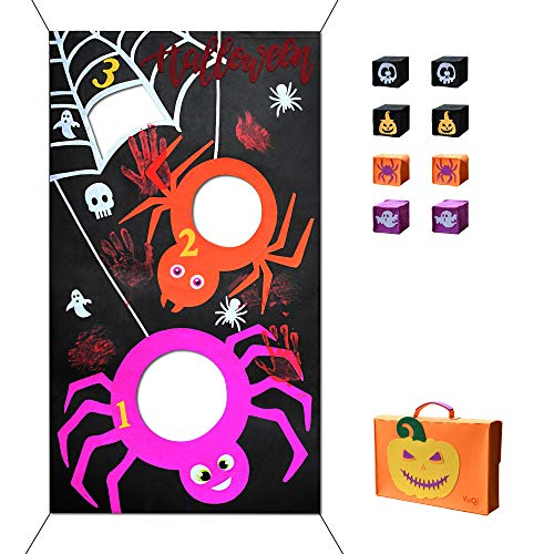 YuQi [8 Bags Included] Halloween Bean Bag Toss Games, Fun Carnival Corn Hole Party Game Camp Activities Set(Halloween Spider) ()
