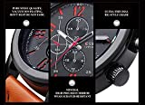Mens-Watches-Big-Dial-Leather-Strap-Decorate-Sub-dials-Wristwatch-Water-Resistant-Quartz-Watch-Orange