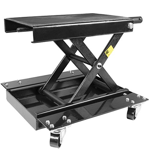 STKUSA Motorcycle Scissor Jack Lift, 1100 Lbs, w/Dolly Bike Rack and Wheels