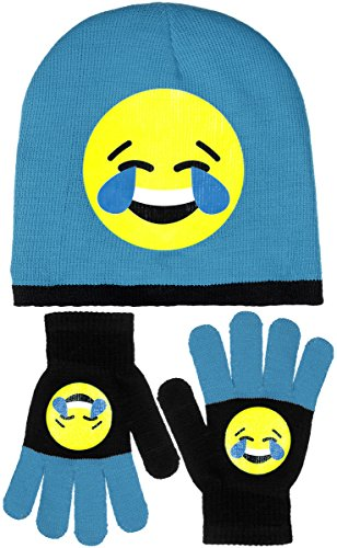 Girls Emoji Smiley Face Knit Beanies with Pom & Gloves Set 8 Fun Designs (Laughing)