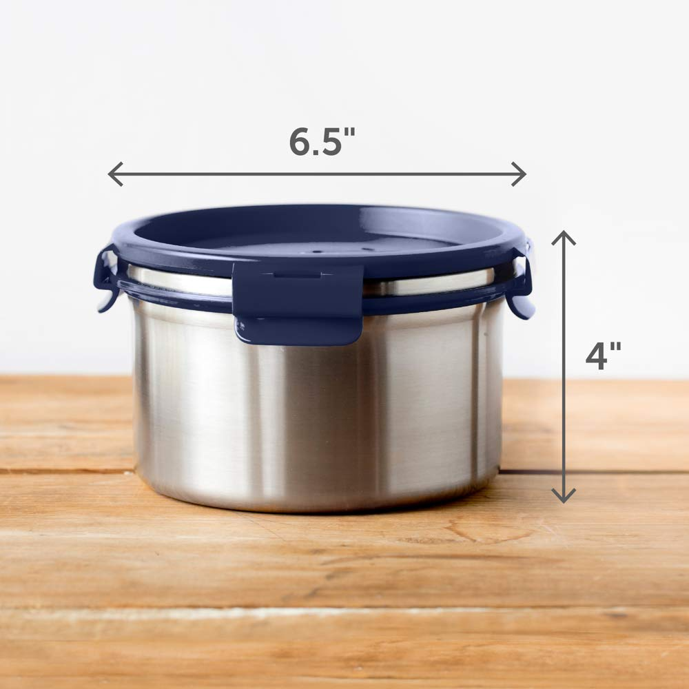 LunchBots Salad Bowl Lunch Container - 6 Cup - Leak Proof Lid - Stainless Steel Inside - Not Insulated - BPA Free, Dishwasher Safe - Navy - 6 cup by LunchBots (Image #5)