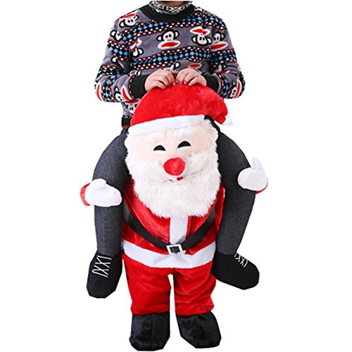 [Carry Me Piggy Back Ride On Novelty Christmas Reindeer Santa Snowman Mascot Fancy Christmas Party Dress Costume (One Size (Suit 160CM to 190CM ), Santa] (Carry Me Ride On Costume)