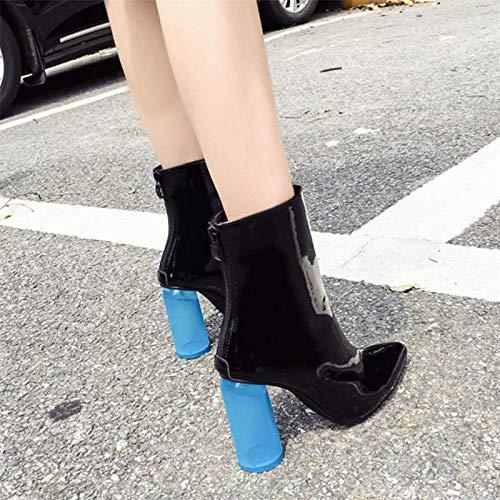 HBDLH Damenschuhe High - Heel Crystal Mit Hohen 10Cm Harte Sohle Crystal Heel Blau Und Sharp Kurze Stiefel. 0e1aa4