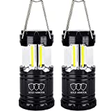 Gold Armour Brightest LED Lantern - Camping Lantern (EMITS 350 LUMENS!) - Camping Gear Camping Equipment Camping Lights for Hiking, Emergencies, Hurricanes, Outages, Storms (2Pack Black)