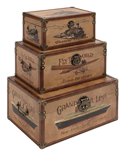 Deco 79 Wood Leather Box, 17 by 15 by 12-Inch, Set of 3 (Woven Rope Set Boxes)
