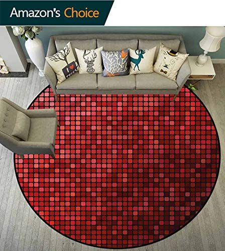 RUGSMAT Maroon Non-Slip Area Rug Pad Round,Abstract Mosaic Grid Ombre Floor Mat Home Decor Round-63