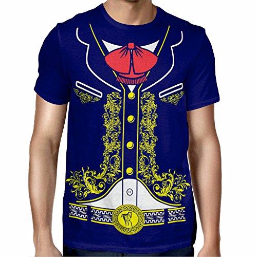 Viva Mexico Men's Mexican Mariachi Charro Costume T Shirt Blue Large -