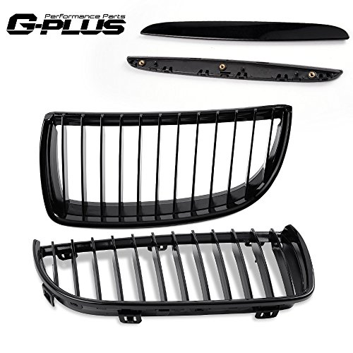 Sedan Grille Grill (4pc Front Kidney Grille Grill For BMW E90 3-Series Sedan Wagon 05-08 Gloss Black)