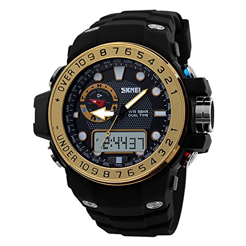 Fanmis Sports Watches Waterproof Multifunction Climbing Dive LCD Digital Analog Black/Gold - Analog Black Lcd