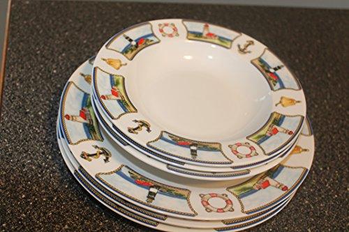American Atelier Anchors - American Atelier Anchor's Away Porcelain (3) Dinner Plates (3) Rimmed Soup Bowls