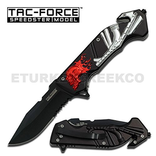 TF-792RS Skull Handle kUVPZTi Rescue Folder Spring Assist hlfEJxekc Knife - Red Skull plate sign metal ajieillw bnvmmfhryuiio90 hbnvbdherr56yuiiop ooru223bnvbcxza vnertyaz Skull Handle Rescue Folder Spring Assist Knife - Red Skull, Silver Pipe. 5 Inch overall closed in length featuring half serrated black stainless steel blade. Includes dVCWZcj seat belt cutter, glass breaker 5O7D4e4 and pocket clip. (Folder Blade Black Stainless)