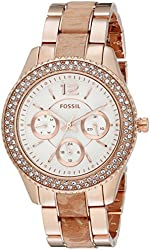 Fossil Women's ES3721 Stella Multifunction Rose Gold-Tone Stainless Steel and Leather Watch