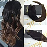 "Sunny 16"" 7 Pcs 120Gram Per Package Clip in Human Hair Extensions Ombre Color #1b Natural Black to #4 Chocolate Brown Full Head Clip in Extensions Full Head Human Hair"