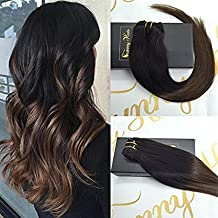 """Sunny 16"""" 7 Pcs 120Gram Per Package Clip in Human Hair Extensions Ombre Color #1b Natural Black to #4 Chocolate Brown Full Head Clip in Extensions Full Head Human Hair"""