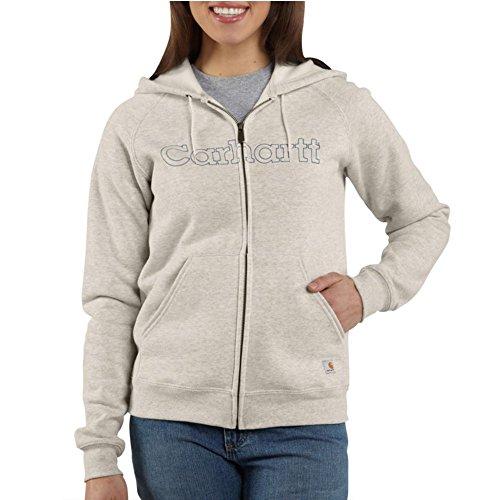 Carhartt Women's WK012 Women's Midweight Zip Front Graphic Hooded Sweatshirt - X-Small Regular - Oatmeal Heather -