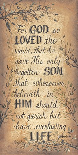 For God So Loved The World John 3:16 Sign by Gail Eads Museum Wrapped Canvas Art 60x30 Inches