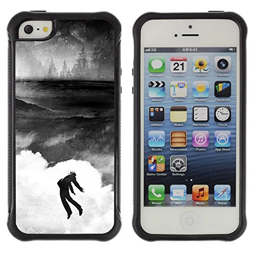 Unique Pattern Anti-Skid Hybrid Impact Shockproof Case Cover For Apple iPhone SE / iPhone 5 / iPhone 5S , ( Banksy Graffity ) (Cool Graffity)