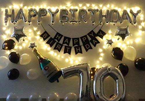 70 Birthday Party Decorations Kit Black And Silver Men Women