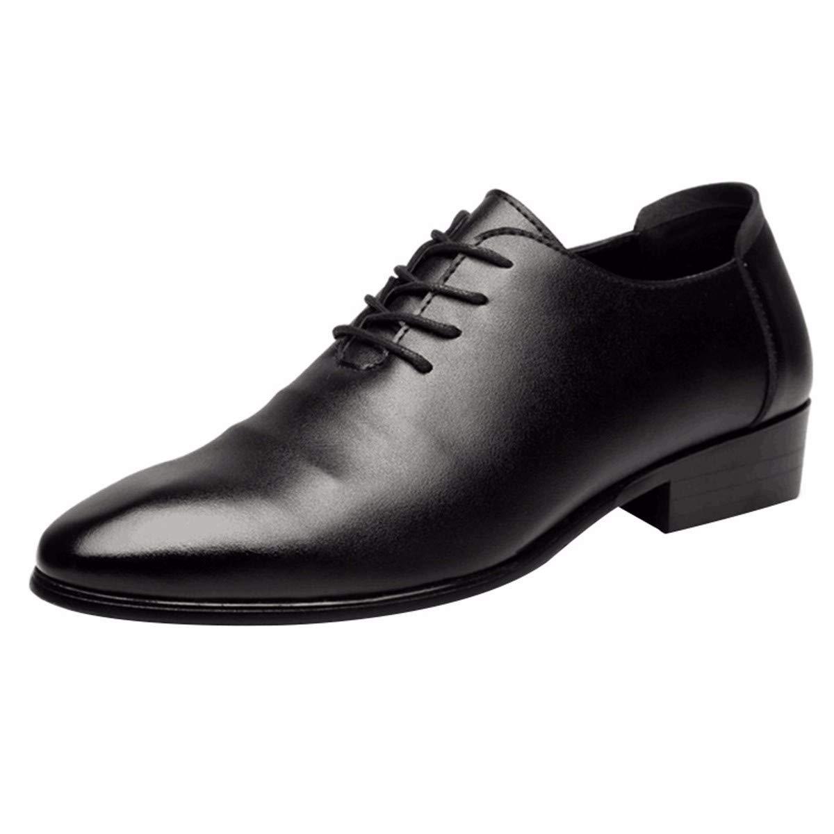 KMJBS Herren Schuhe im Sommer, Lederschuhe, modisch, atmungsaktiv, mit Schnürung im Inneren.
