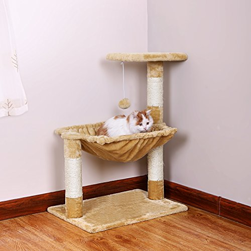 SONGMICS Cat Tree Condo House with Sisal Scratch Posts Kitty Furniture Beige UPCT67M