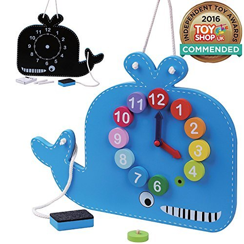 QS Childrens Wooden Toy Whale Clock And Blackboard