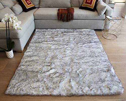 5x7 Feet Black White Colors Area Rug Carpet Rug Faux Fur Sheepskin Soft Plush Pile Shag Shaggy Fuzzy Furry Modern Contemporary Decorative Designer Bedroom Living Room Carpet