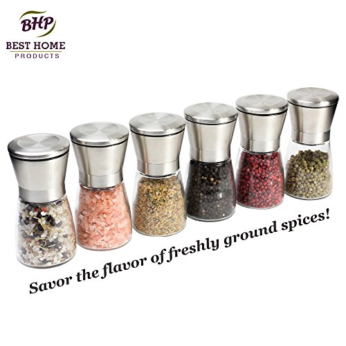 Salt and Pepper Grinder Set - Set of Two Mills | Suitable for Peppercorns, Sea Salt, Himalayan Salt, Spices & Table Seasoning (by Best Home Products)