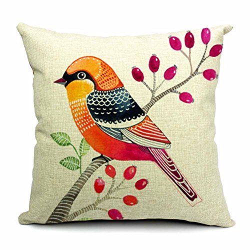 "Dreamcolor 18x18"" Cotton Linen Bird Pattern Decorative Throw Pillow Cover(ZBZ029-3)"