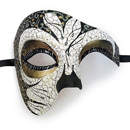 Mens Phantom of the Opera Masquerade Mask - Silver by MasqueradeParty ()