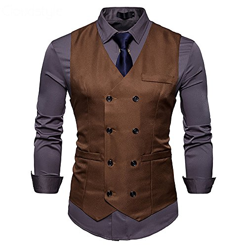 Mens Vest Double Breasted V-Neck Slim Fit Formal Dress Vest Business Waistcoat (Buckle Vest)