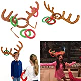 Kingfansion 2PCS Christmas Party Inflatable Reindeer Antler Hat Ring Toss Game