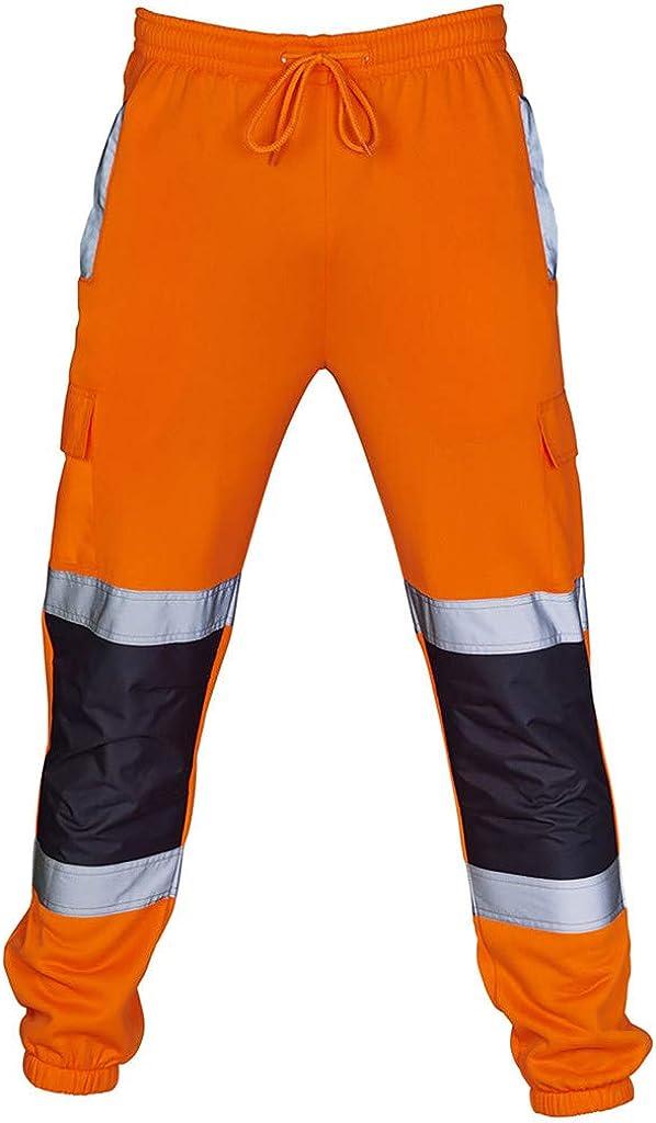 Pantalones de Trabajo Hombre SUNNSEAN S/ólido Reflexivo de Alta Visibilidad Traje Casual Multi Bolsillo Deportes Entrenamiento Pantal/ón Profesional Vestimenta Pantalones