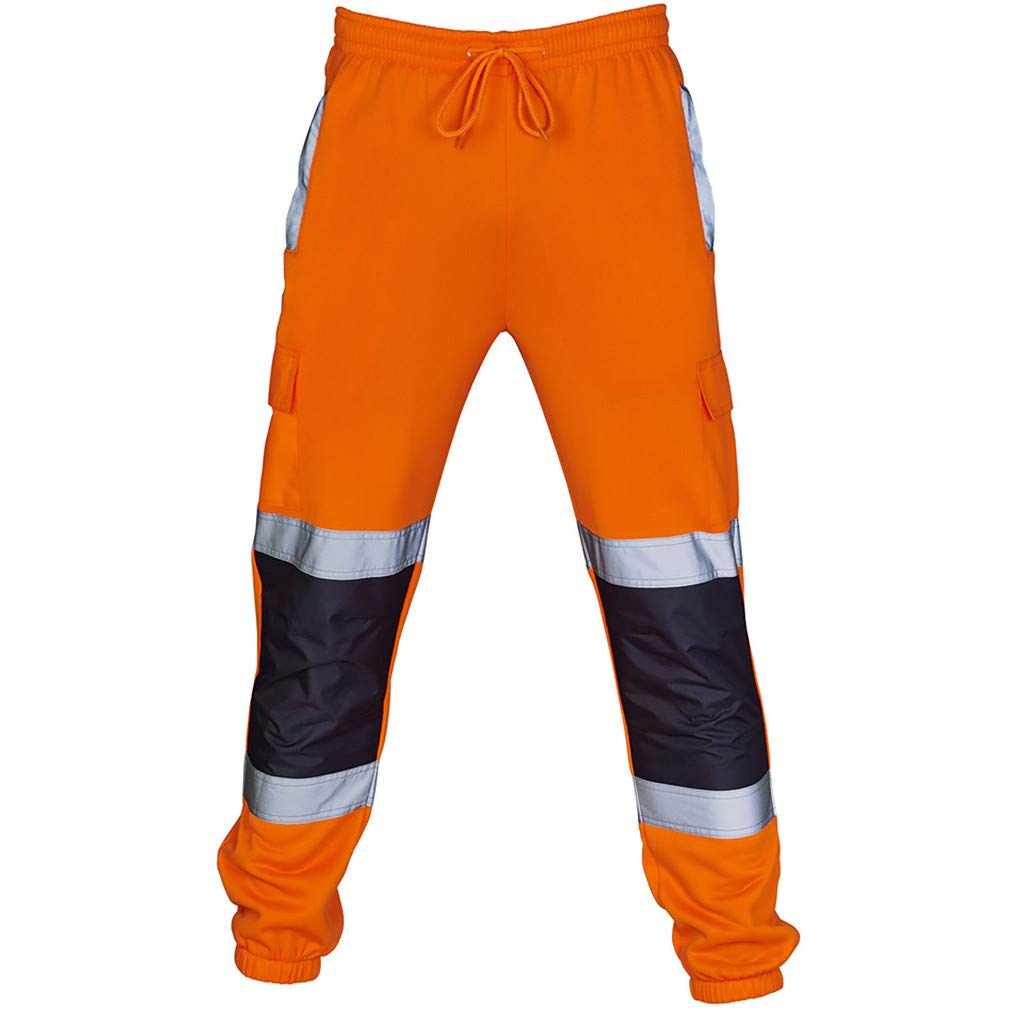 kaifongfu Men Road Work Pants High Visibility Overalls Casual Work Casual Trouser with Pocket