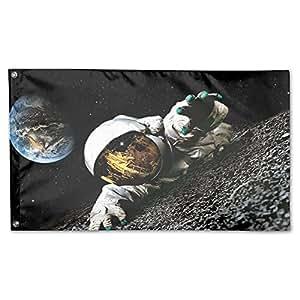 """Astronauta en la luna jardín Patio Banderas decorativa 59""""x 35"""" poliéster funda casa bandera Bienvenido vacaciones Festival para al aire libre"""