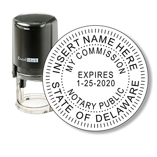Round Notary Stamp for State of Delaware - Self Inking Stamp - Features The ExcelMark Double Sided Ink Pad for Longer Product Life