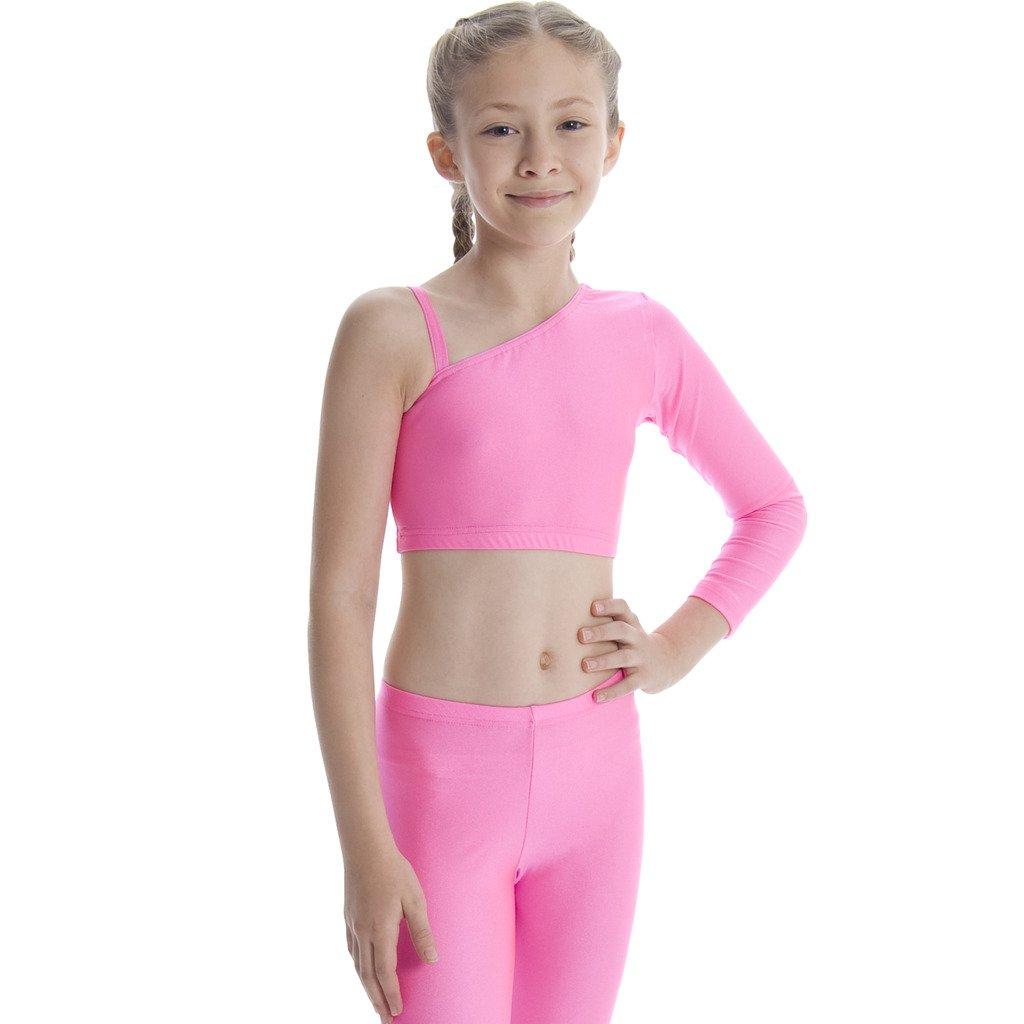 Dance Gear KCT Children s Nylon Lycra Long Sleeved - one Shoulder Crop Top   Amazon.co.uk  Clothing 98141daaa6d