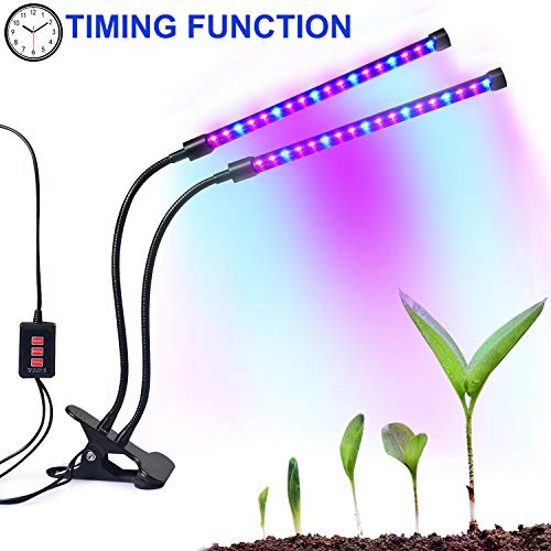 Dual-lamp Grow Light Autien 36LEDs 4 Levels 3 Modes Timing(3H/6H/12H) Plant Lights Bulbs Growing Lamps with 360 Degree Flexible Gooseneck for Indoor Plants Garden Greenhouse Tent Herbs Potted