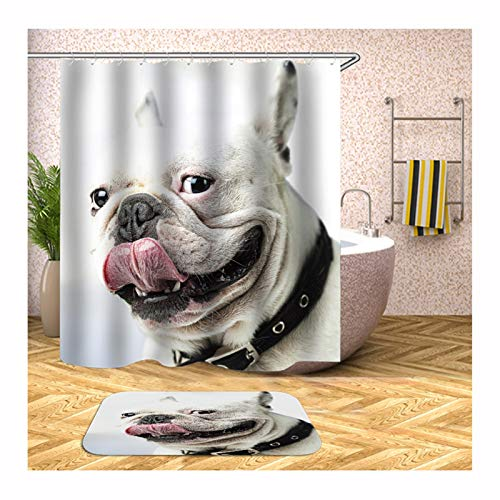 Aokarry 2 Pieces Polyester Shower Curtain & 40x60cm Rug Set White Black Dog 48x72 '' ()