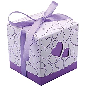 DriewWedding Set of 50 Wedding Bridal Favor Gift Candy Boxes Case, Hollow Heart Shape Wrap Boxs Bag with Ribbon Party Table Decor Kit Treat Box Chocolate Candy Wrappers Holders (Purple/ 3″x3″x3″)