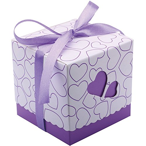 DriewWedding Set of 50 Wedding Bridal Favor Gift Candy Boxes Case, Hollow Heart Shape Wrap Boxs Bag with Ribbon Party Table Decor Kit Treat Box Chocolate Candy Wrappers Holders (Purple/ 3