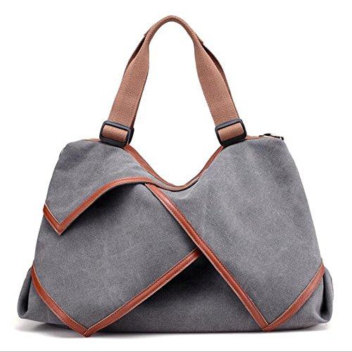 Bolsos Shoppingbags Gray Hombro Viaje Jiuyizhe Brown Bolso De La Las Lona Del Asas Grandes Mujeres color 7Z0AfF