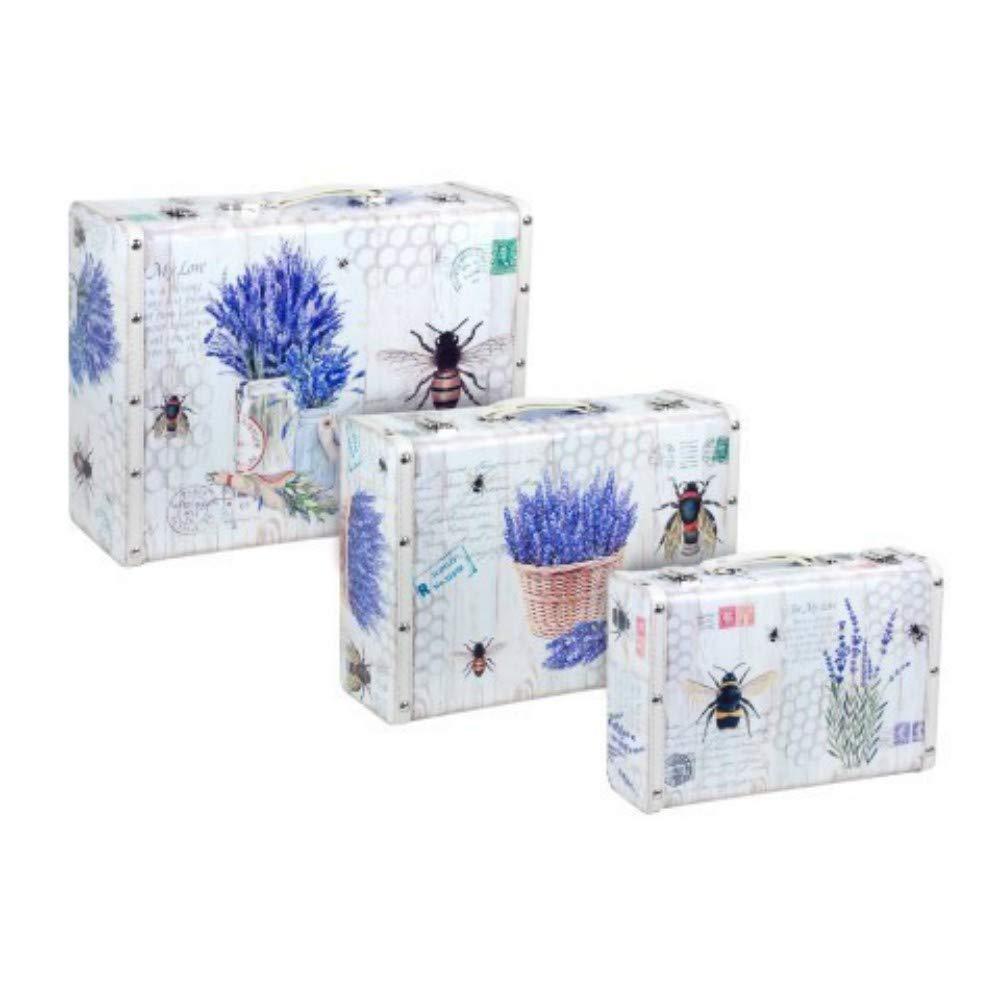 CAPRILO Set de 3 Maletas Decorativas Lavanda Caja Multiusos. Muebles Auxiliares, Decoración Hogar. Regalos Originales. 30 x 40 x 15.5 cm.: Amazon.es: Hogar