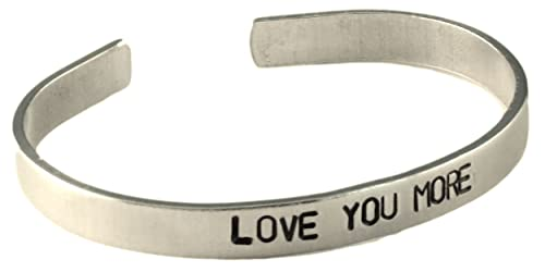 45c73ee9669 Image Unavailable. Image not available for. Color: Love You More - Cuff  Bracelet Hand Stamped Aluminum Message Personalized ...