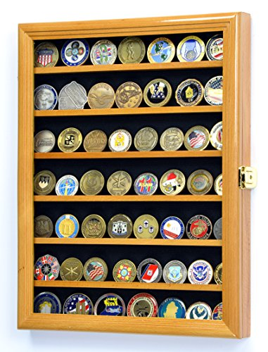 Military Challenge Coin Display Case Cabinet Holder Wall Rack w/ UV Protection -Oak Oak Challenge Coin