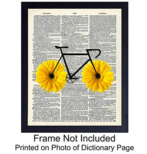 Bike with Daisy Tires - Unframed Dictionary Wall Art Print - Great For Home Decor - Affordable and Easy Gift Giving - Ready to Frame (8x10) Photo (Affordable Decor Wall Art)