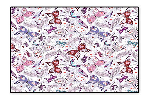 Perfect Kitchen Area Rug Colorful Floral Art with Hearts and Butterflies Lily Flowers Romantic Design Lilac Purple for Home and Office 5'x7' -
