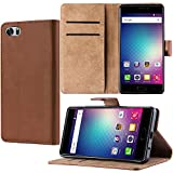 Case for BLU PURE XR, Qoosea Premium PU Leather Wallet Case with Card Holder and ID Slot Stand Flip Cover Case for BLU PURE XR Smartphone - BROWN