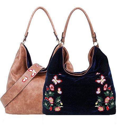 Bag Navy Tote Hobo Pu Shopper Reversible Velvet Embroidery Foxlady Large Hanbag Cream Shoulder Women's Floral gqBSvB