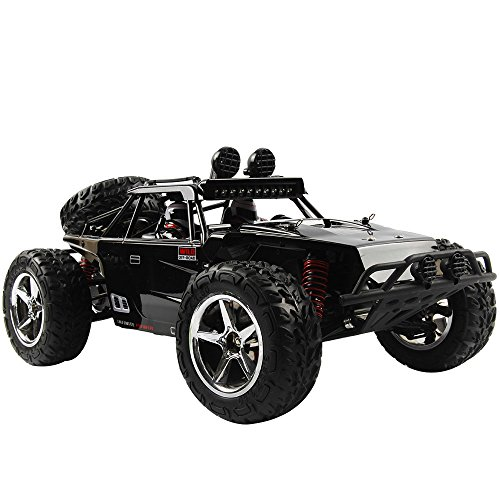 HUKOER Remote Control Car For Kids - Rock Crawler Car with 1:12 Full Scale 2.4GHz Off Road High Speed Four-wheel Drive RC Car (Black)